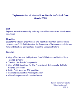 Central Line Bundle Packet - Tennessee Center for Patient Safety