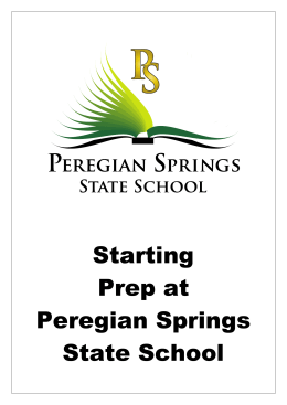 Prep Parent Information Book - Peregian Springs State School