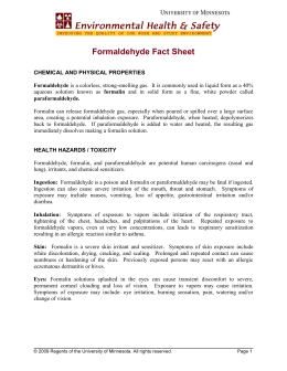 Formaldehyde Fact Sheet - the Department of Environmental Health