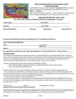 Vacation Bible School will be held from July 9th through July 13th