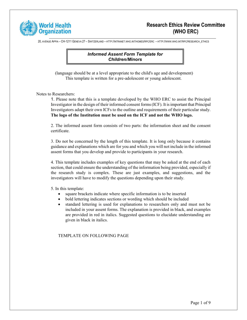 Informed Consent Form Template For Clinical Studies