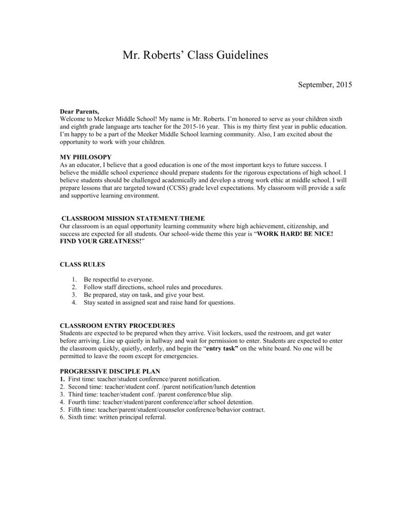Mr. Roberts` Class Guidelines Mr. Roberts b359f1b60a359
