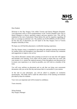 STUDENT WELCOME STATEMENT FOR DAY SURGERY