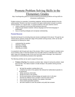 Promote Problem Solving Skills in the Elementary Grades
