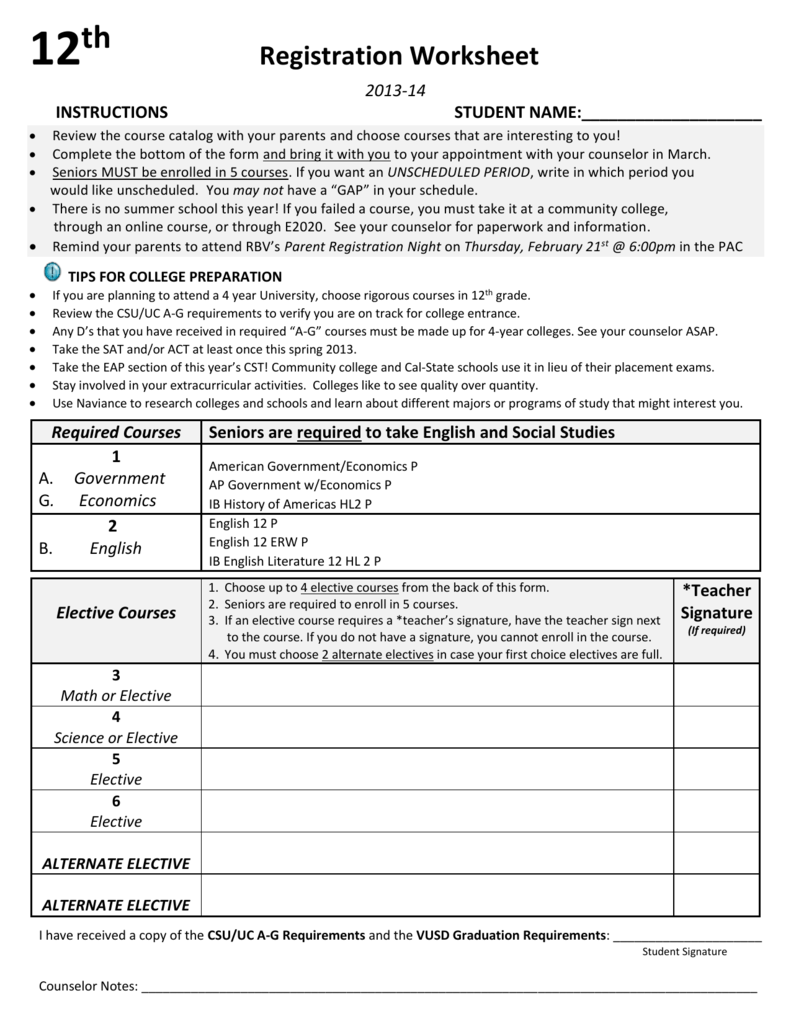 12th GRADE COURSE WORKSHEET