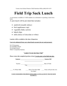 Lunch to go for Field Trip - Verona Area School District