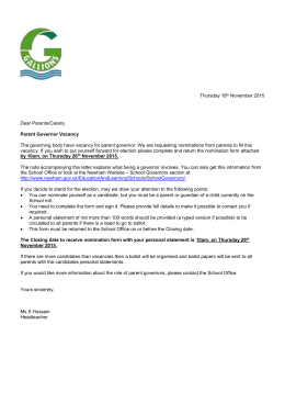 Parent Governor Vacancy and Nominations