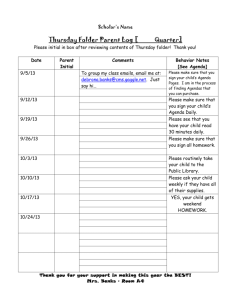 Thursday Folder Parent Log - Mrs