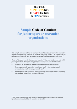 Codes Of Conduct For Junior Sport Template