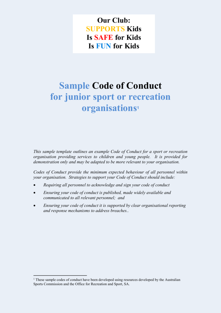 Junior Sport Code of Conduct template