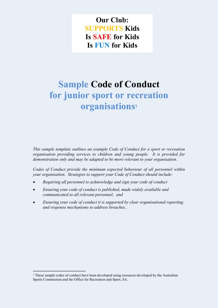 Junior Sport Code Of Conduct Template