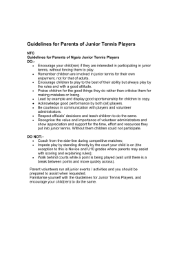 Guidelines for Parents of Junior Tennis Players