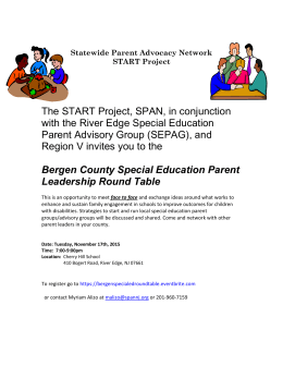 Here are the dates and locations for the Special Education Parent