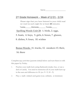 2nd Grade Homework – Week of April 27th