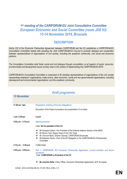 Programme 27th ACP-EU Meeting - Economic and Social Committee