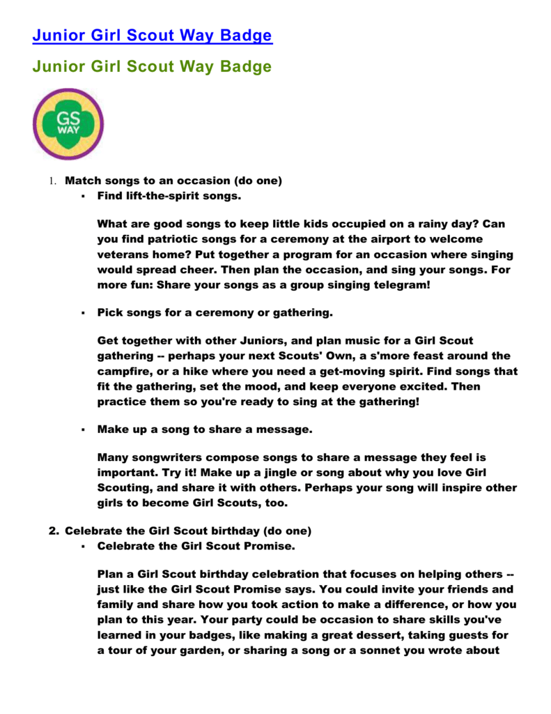 Junior girl scout way badge ideas