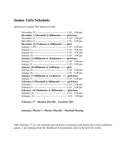 Junior Girls Schedule (including Practices)
