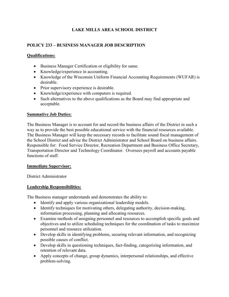 Business Manager Job Description Lake Mills Area School District