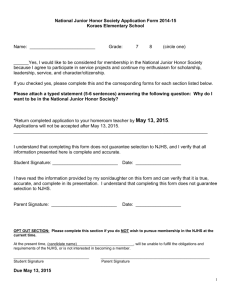 National Junior Honor Society Application Form 2013