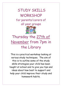 PARENTS STUDY SKILLS WORKSHOP