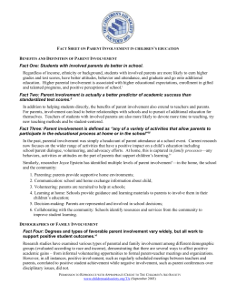 Fact Sheet on Parent Involvement in children`s education