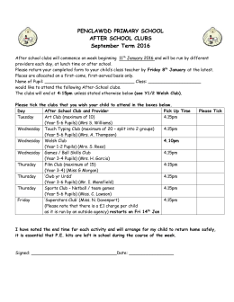 Spring Term (2016) Extra Curricular Consent Form