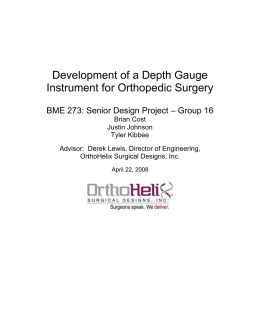 Development of a Depth Gauge Instrument for Orthopedic Surgery