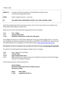 NWI 15 Girls Football Trial Notice