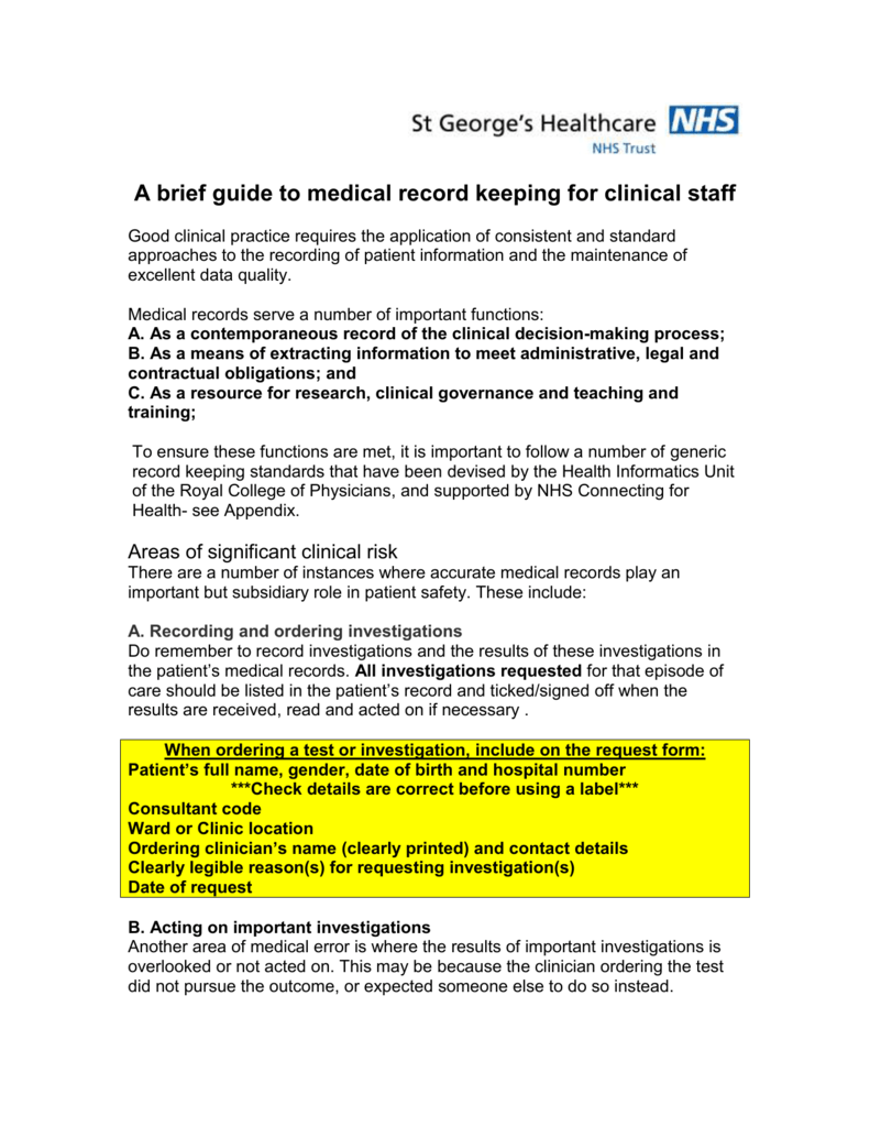 A Brief Guide To Medical Record Keeping For Clinical Staff
