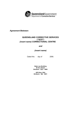 Agreement between Queensland Corrective Services and Provider