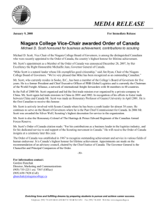 Niagara College Vice-Chair awarded Order of Canada Michael D