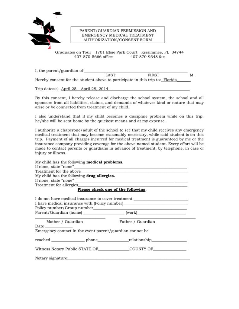 Medical Release Form Senior Trip Information