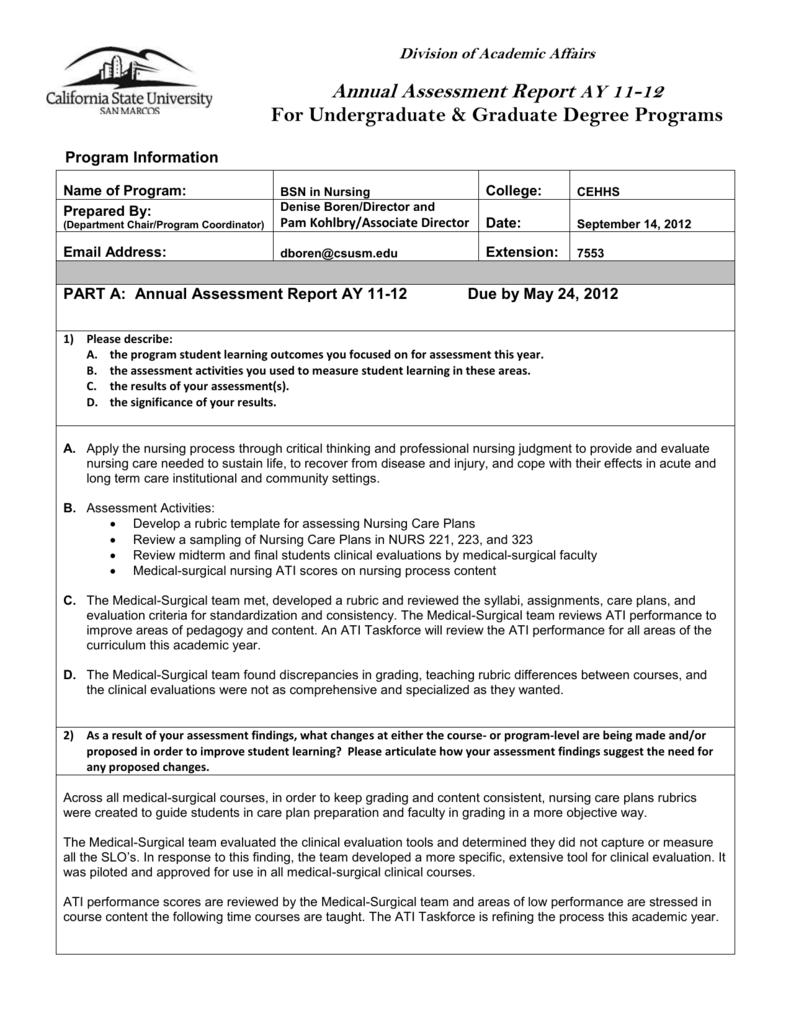 annual assessment report bsn