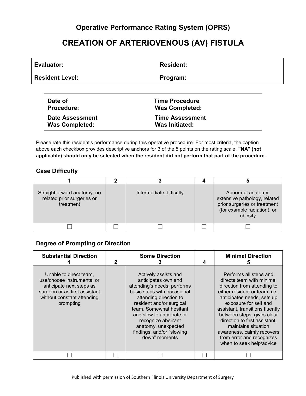 Creation of AV Fistula – Page 1 Operative Performance Rating