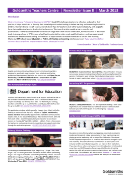 Goldsmiths Teachers Centre Newsletter Issue 6 October 2012