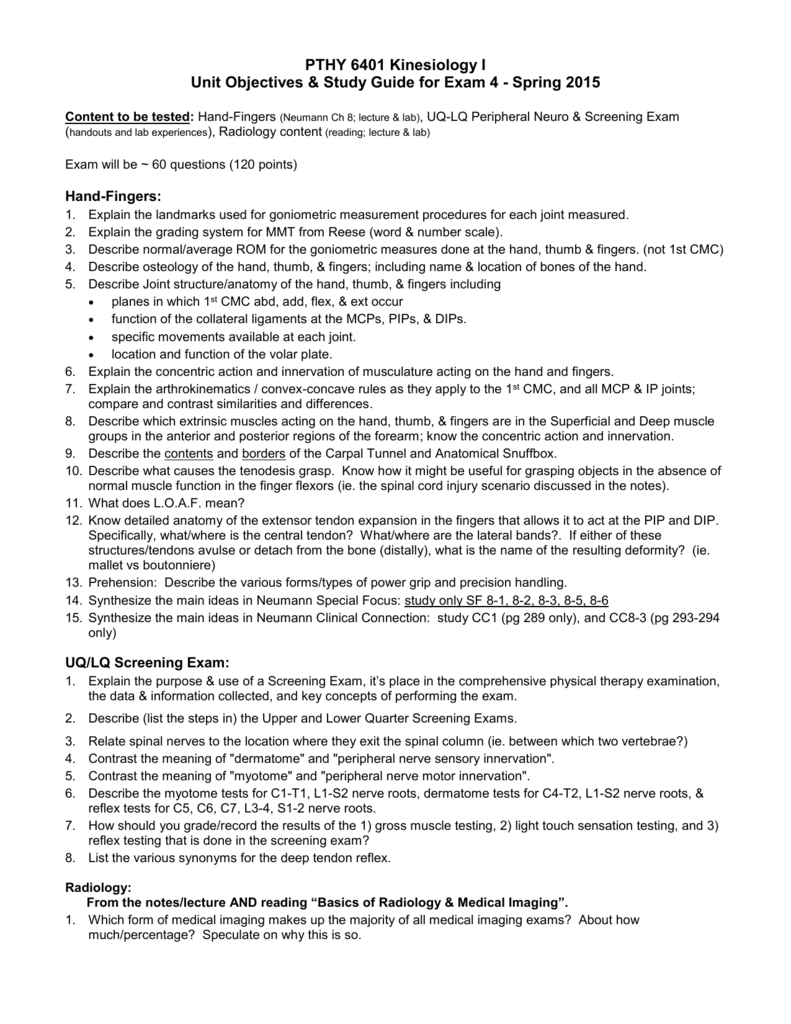 Unit Objectives & Study Guide for Exam 4