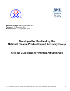 Guidelines for the Usage of Human Albumin Solution at WIG/GGH