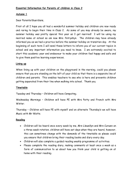 Essential Information for Parents of children in Class 1