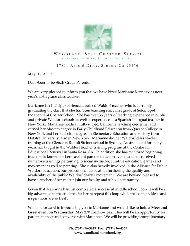 memorandum for teachers/staff - Woodland Star Charter School