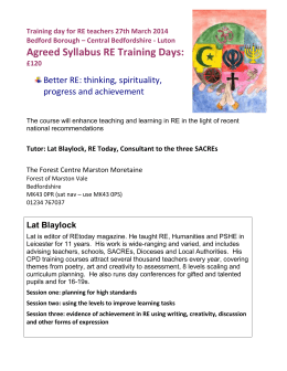 RE syllabus training March 2014 booking form