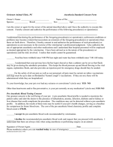Consent Form for General Anesthesia