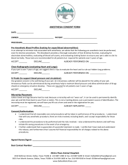 ANESTHESIA CONSENT FORM - Metro Paws Animal Hospital
