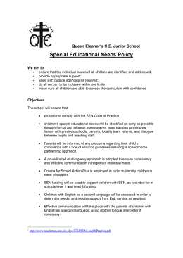 Special Educational Needs (SEN) - Queen Eleanor`s C of E Junior