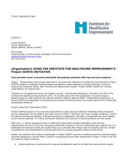 press release - Institute for Healthcare Improvement