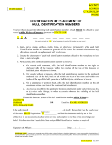 Certification of Placement of Hull Identification Numbers