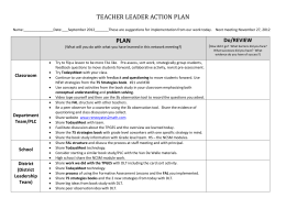 TEACHER LEADER ACTION PLAN