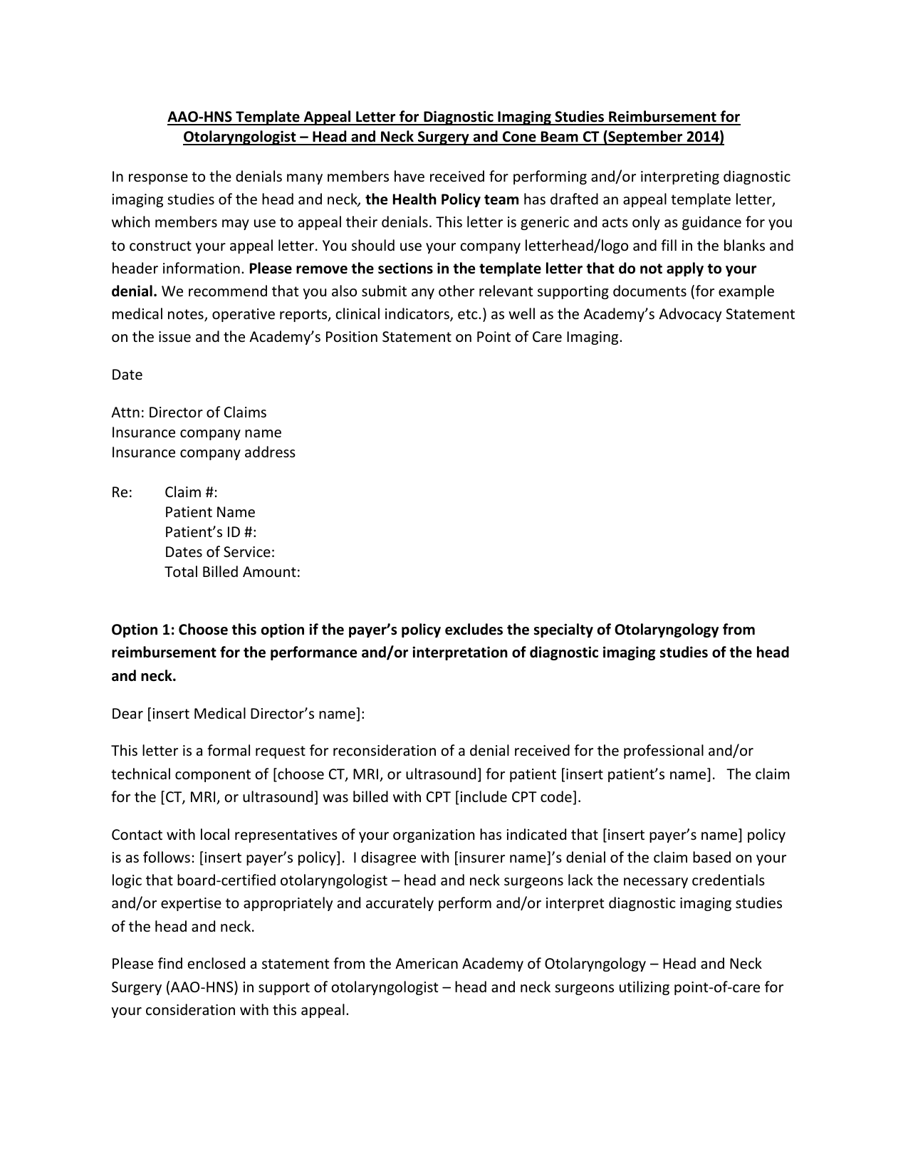 Aao Hns Template Appeal Letter For Diagnostic Imaging Studies