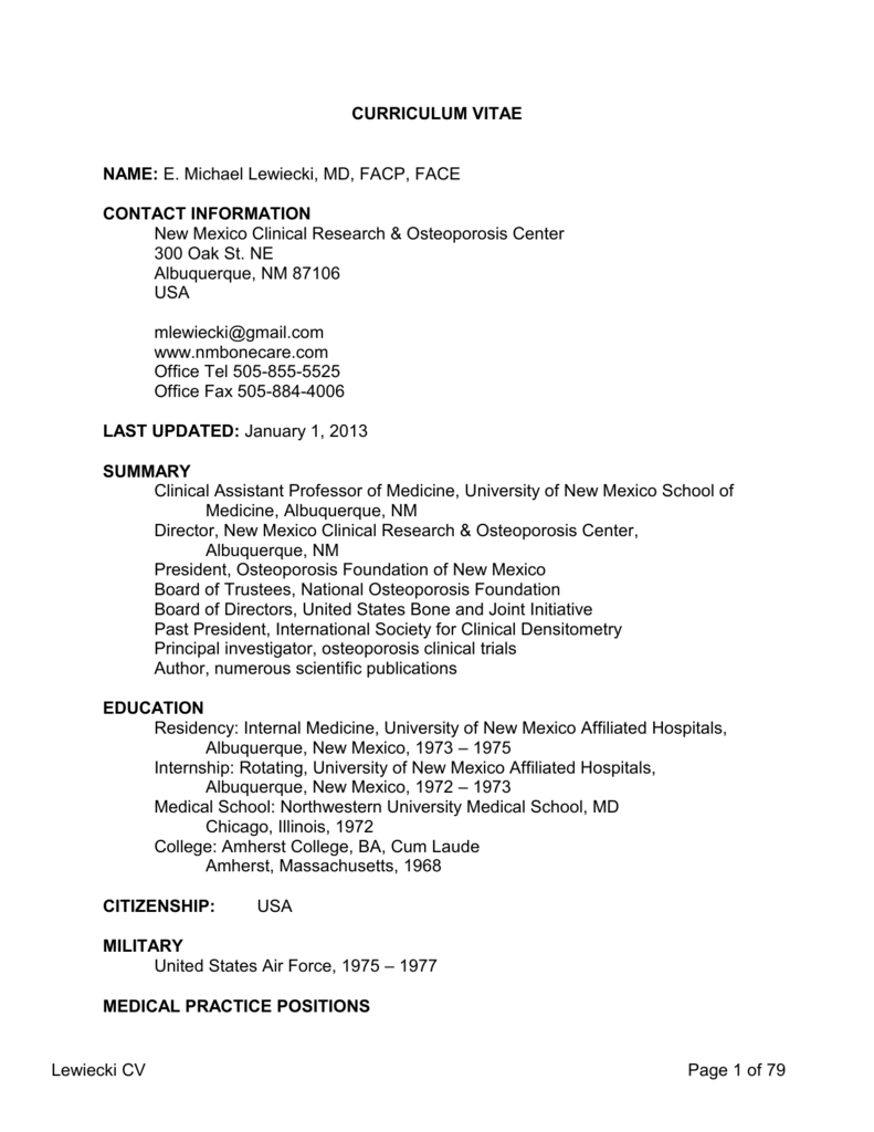 Curriculum Vitae New Mexico Clinical Research & Osteoporosis