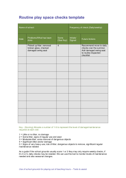 Routine play space checks template