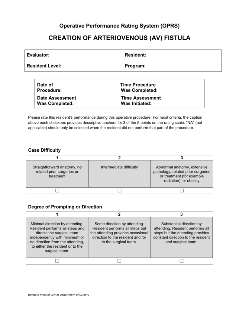 Operative Performance Rating System Oprs
